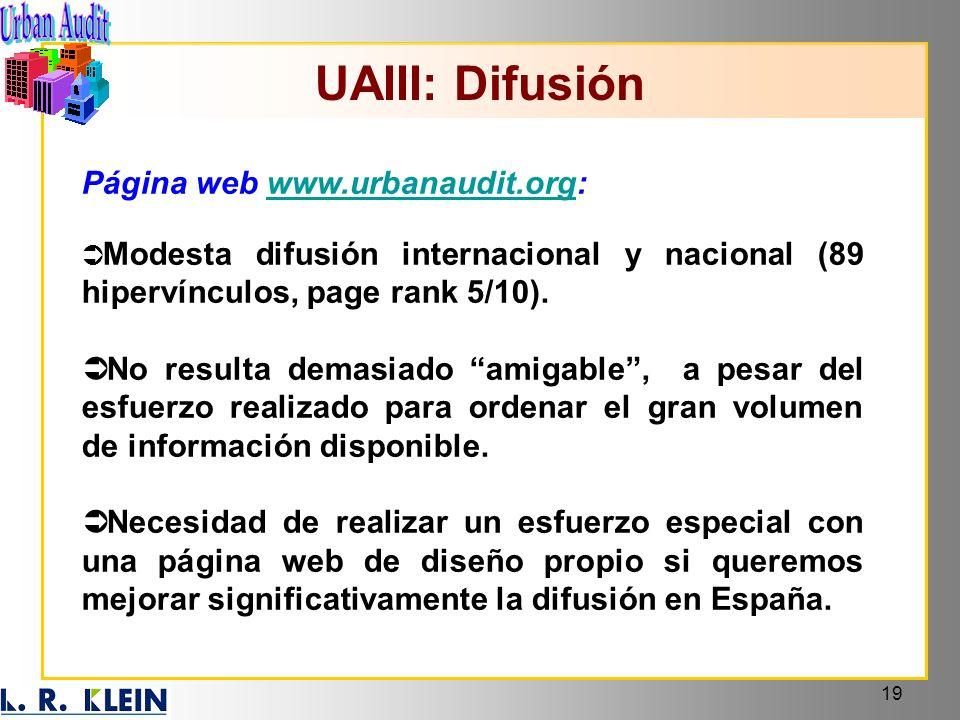 19 UAIII: Difusión Página web www.urbanaudit.org:www.urbanaudit.org Modesta difusión internacional y nacional (89 hipervínculos, page rank 5/10). No r