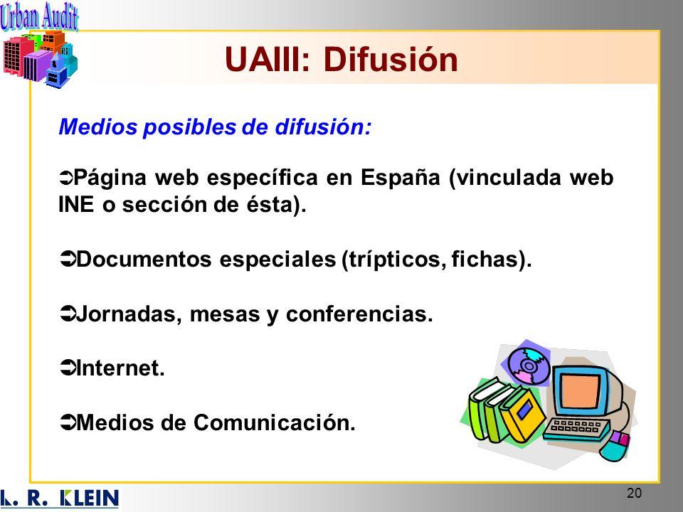 20 UAIII: Difusión Medios posibles de difusión: Página web específica en España (vinculada web INE o sección de ésta). Documentos especiales (tríptico