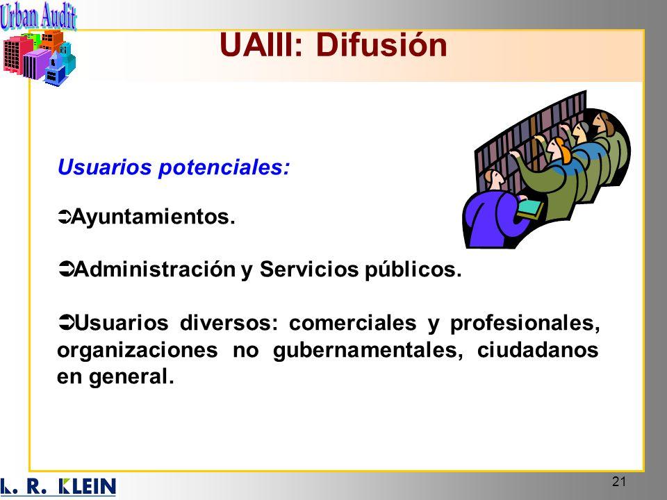 21 UAIII: Difusión Usuarios potenciales: Ayuntamientos. Administración y Servicios públicos. Usuarios diversos: comerciales y profesionales, organizac