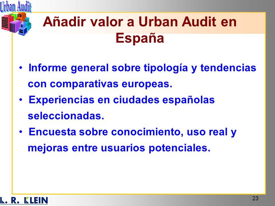 23 Informe general sobre tipología y tendencias con comparativas europeas. Experiencias en ciudades españolas seleccionadas. Encuesta sobre conocimien
