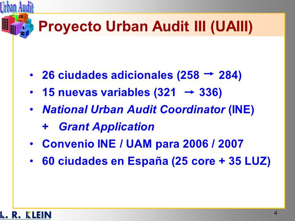 4 26 ciudades adicionales (258 284) 15 nuevas variables (321 336) National Urban Audit Coordinator (INE) + Grant Application Convenio INE / UAM para 2