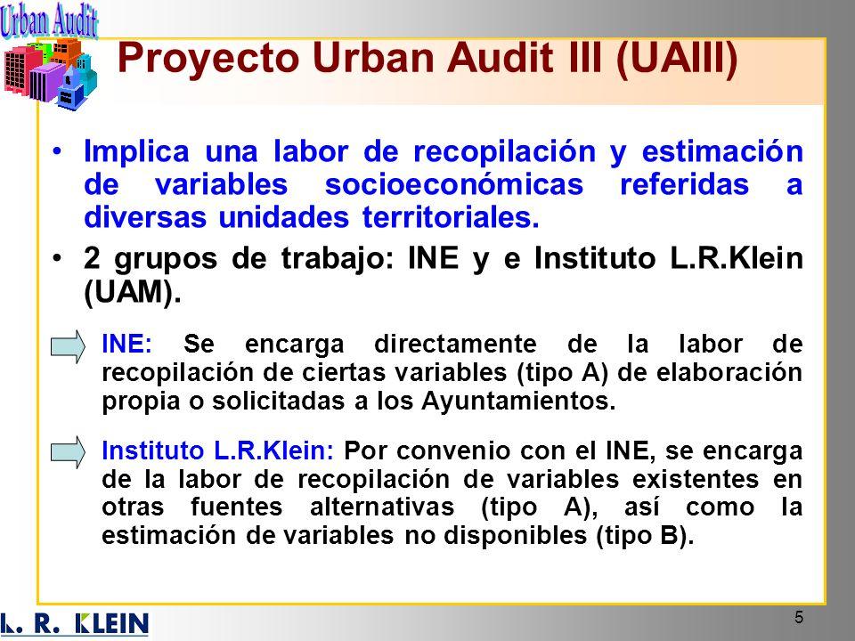 5 Implica una labor de recopilación y estimación de variables socioeconómicas referidas a diversas unidades territoriales. 2 grupos de trabajo: INE y