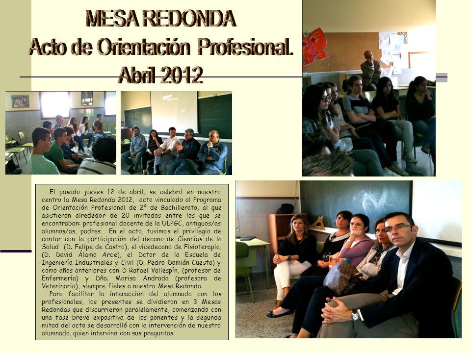 El pasado jueves 12 de abril, se celebró en nuestro centro la Mesa Redonda 2012, acto vinculado al Programa de Orientación Profesional de 2º de Bachil