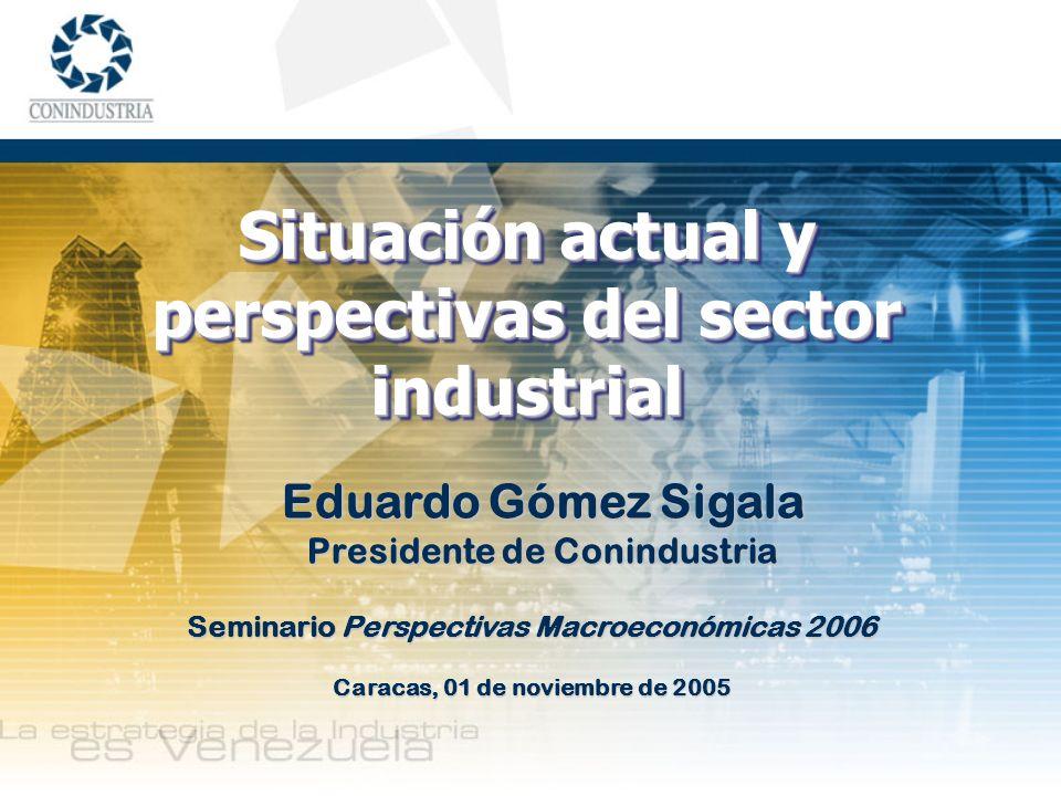 Seminario Perspectivas Macroeconómicas 2006 Caracas, 01 de noviembre de 2005 Eduardo Gómez Sigala Presidente de Conindustria Situación actual y perspe