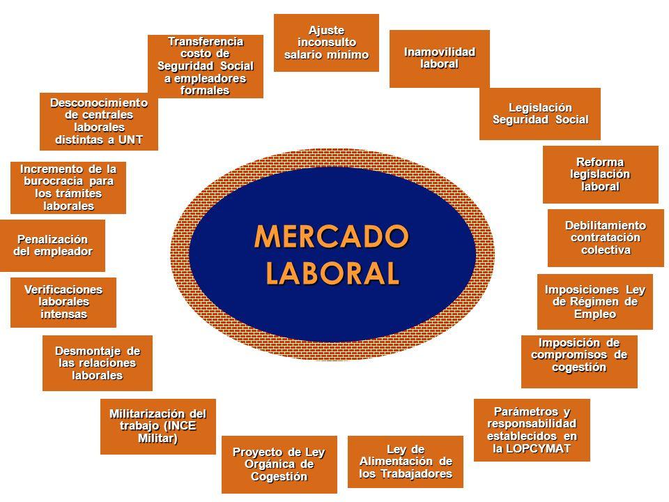 MERCADO LABORAL Ajuste inconsulto salario mínimo Inamovilidad laboral Legislación Seguridad Social Reforma legislación laboral Debilitamiento contrata