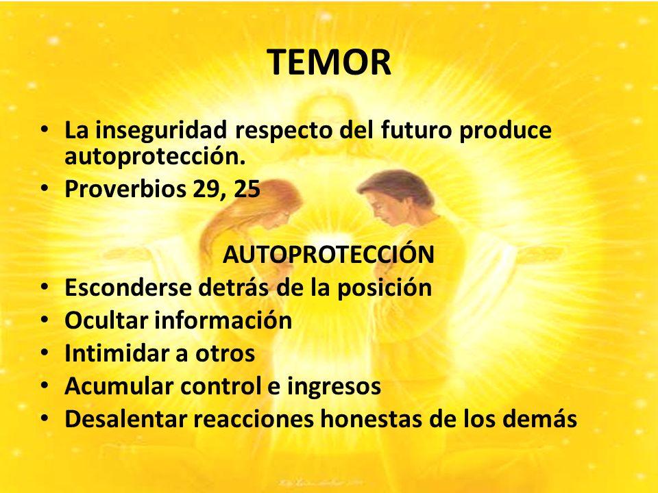 TEMOR La inseguridad respecto del futuro produce autoprotección.