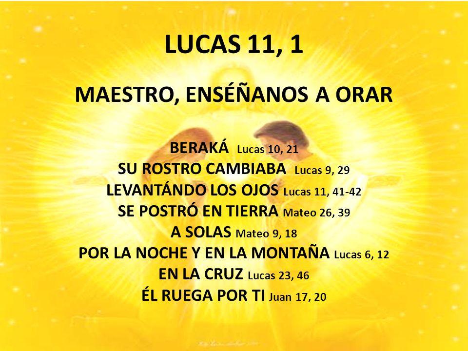 LUCAS 11, 1 MAESTRO, ENSÉÑANOS A ORAR BERAKÁ Lucas 10, 21 SU ROSTRO CAMBIABA Lucas 9, 29 LEVANTÁNDO LOS OJOS Lucas 11, 41-42 SE POSTRÓ EN TIERRA Mateo 26, 39 A SOLAS Mateo 9, 18 POR LA NOCHE Y EN LA MONTAÑA Lucas 6, 12 EN LA CRUZ Lucas 23, 46 ÉL RUEGA POR TI Juan 17, 20