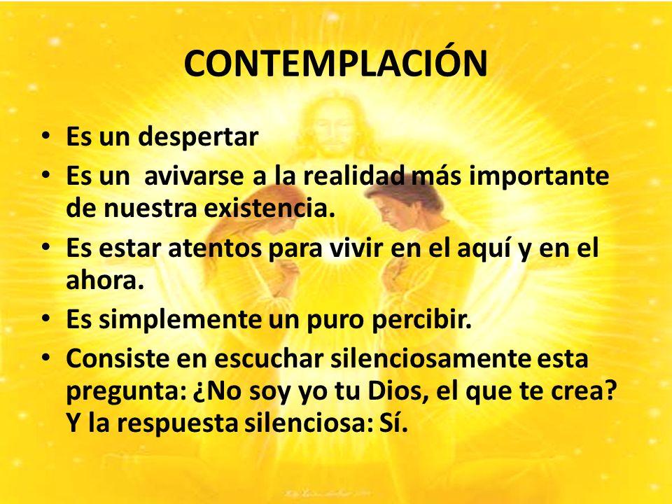CONTEMPLACIÓN Es un despertar Es un avivarse a la realidad más importante de nuestra existencia.