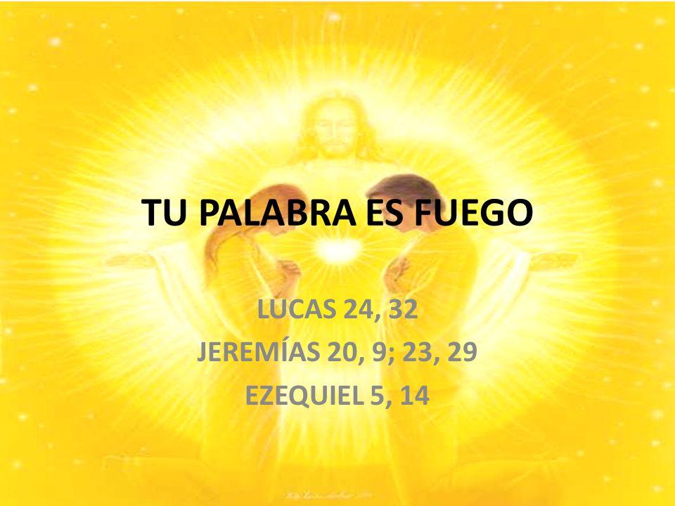 TU PALABRA ES FUEGO LUCAS 24, 32 JEREMÍAS 20, 9; 23, 29 EZEQUIEL 5, 14