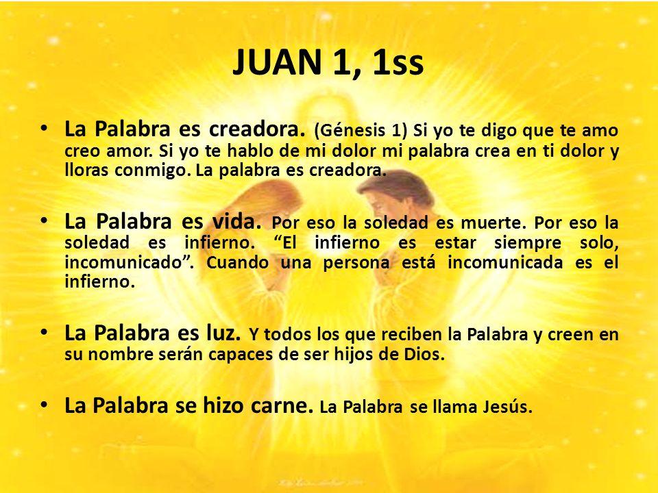 JUAN 1, 1ss La Palabra es creadora.(Génesis 1) Si yo te digo que te amo creo amor.