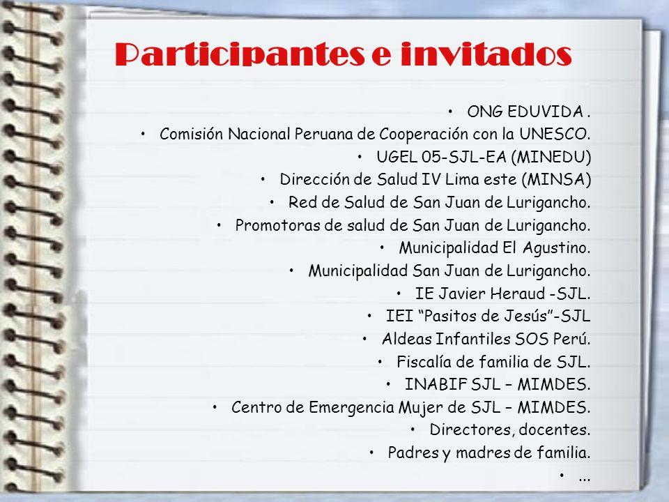 Participantes e invitados ONG EDUVIDA. Comisión Nacional Peruana de Cooperación con la UNESCO. UGEL 05-SJL-EA (MINEDU) Dirección de Salud IV Lima este