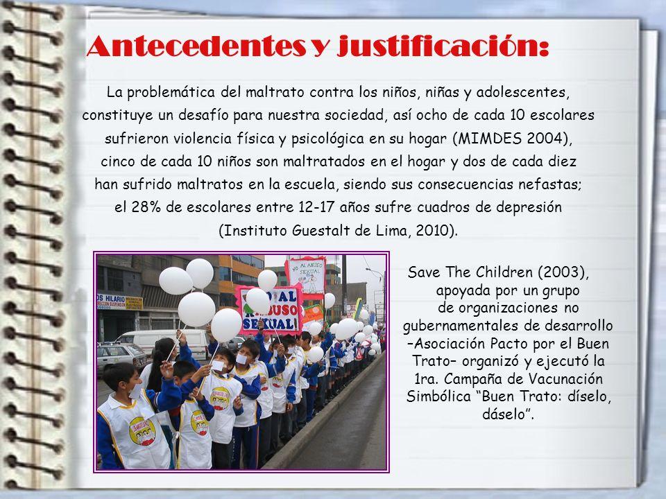 Save The Children (2003), apoyada por un grupo de organizaciones no gubernamentales de desarrollo –Asociación Pacto por el Buen Trato– organizó y ejecutó la 1ra.