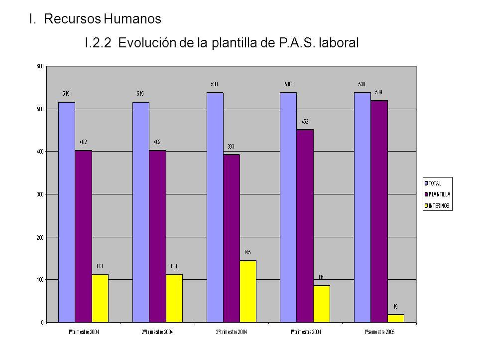 I. Recursos Humanos I.2.2 Evolución de la plantilla de P.A.S. laboral