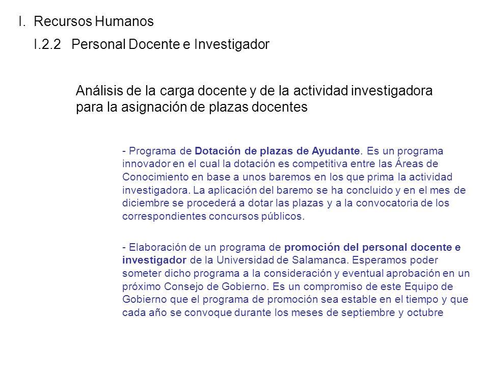 - Elaboración de un programa de promoción del personal docente e investigador de la Universidad de Salamanca.