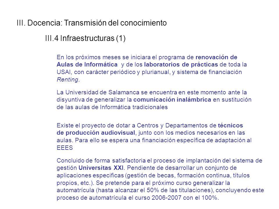III. Docencia: Transmisión del conocimiento III.4 Infraestructuras (1) En los próximos meses se iniciara el programa de renovación de Aulas de Informá