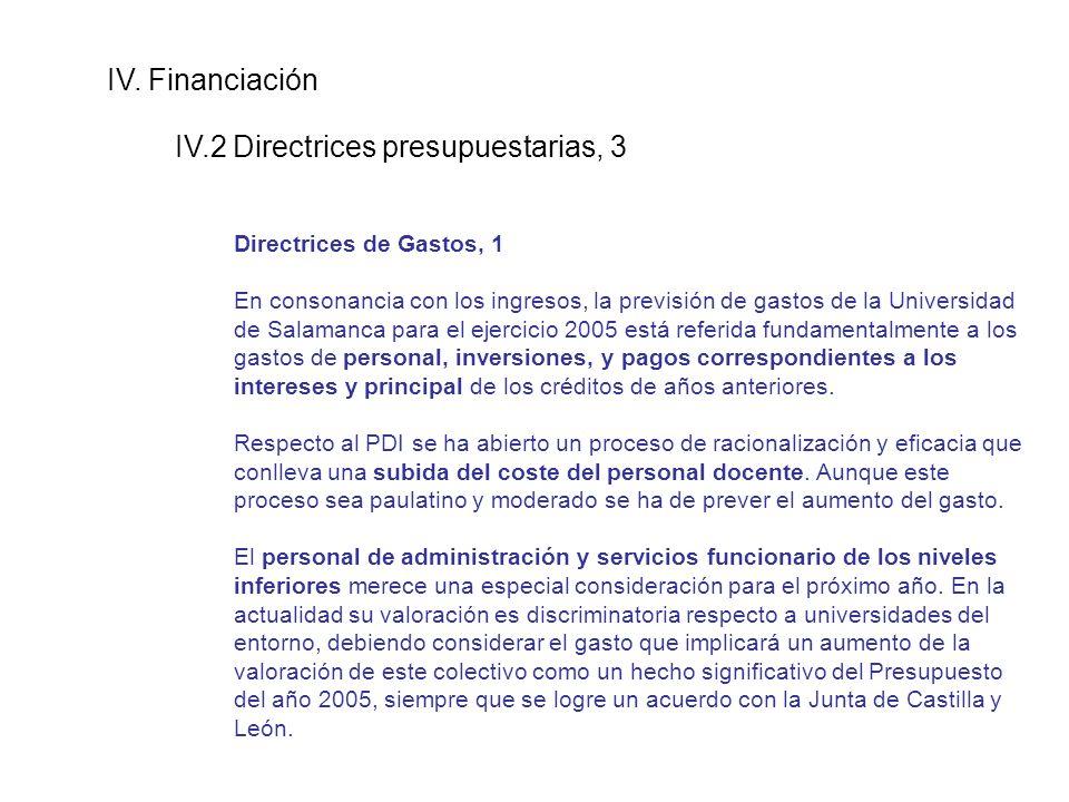 IV. Financiación IV.2 Directrices presupuestarias, 3 Directrices de Gastos, 1 En consonancia con los ingresos, la previsión de gastos de la Universida