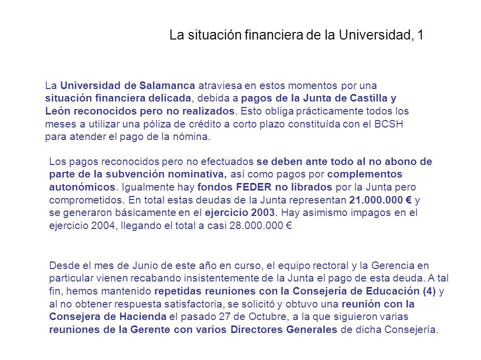 La situación financiera de la Universidad, 1 La Universidad de Salamanca atraviesa en estos momentos por una situación financiera delicada, debida a pagos de la Junta de Castilla y León reconocidos pero no realizados.