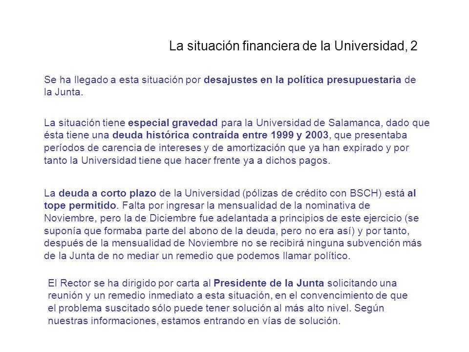 La situación financiera de la Universidad, 2 Se ha llegado a esta situación por desajustes en la política presupuestaria de la Junta.