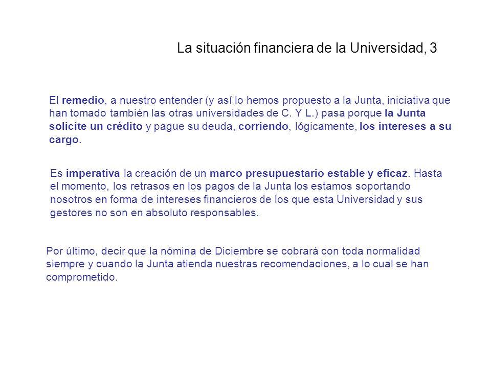 La situación financiera de la Universidad, 3 El remedio, a nuestro entender (y así lo hemos propuesto a la Junta, iniciativa que han tomado también las otras universidades de C.