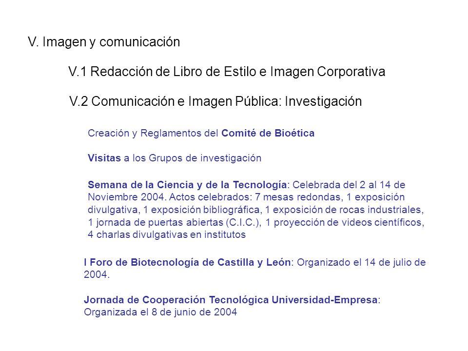 V. Imagen y comunicación V.1 Redacción de Libro de Estilo e Imagen Corporativa Creación y Reglamentos del Comité de Bioética Visitas a los Grupos de i