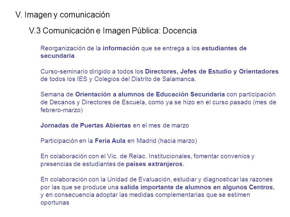 V. Imagen y comunicación V.3 Comunicación e Imagen Pública: Docencia Reorganización de la información que se entrega a los estudiantes de secundaria C