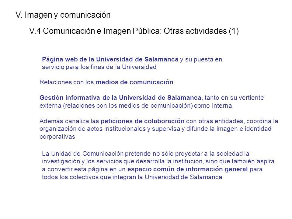 V. Imagen y comunicación V.4 Comunicación e Imagen Pública: Otras actividades (1) Página web de la Universidad de Salamanca y su puesta en servicio pa
