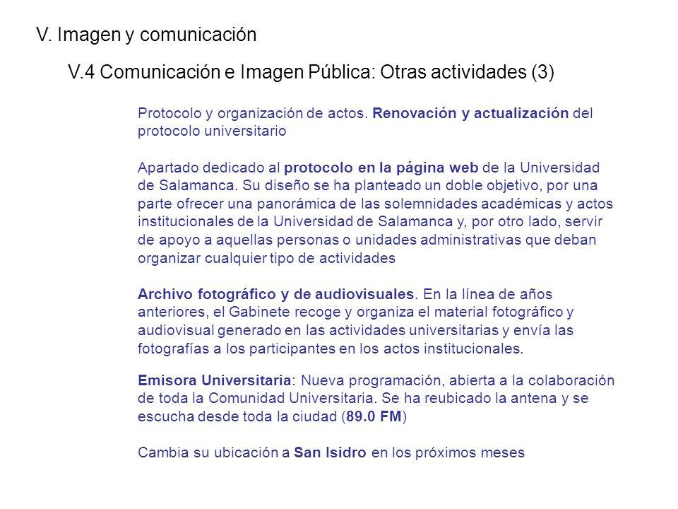 V. Imagen y comunicación V.4 Comunicación e Imagen Pública: Otras actividades (3) Protocolo y organización de actos. Renovación y actualización del pr