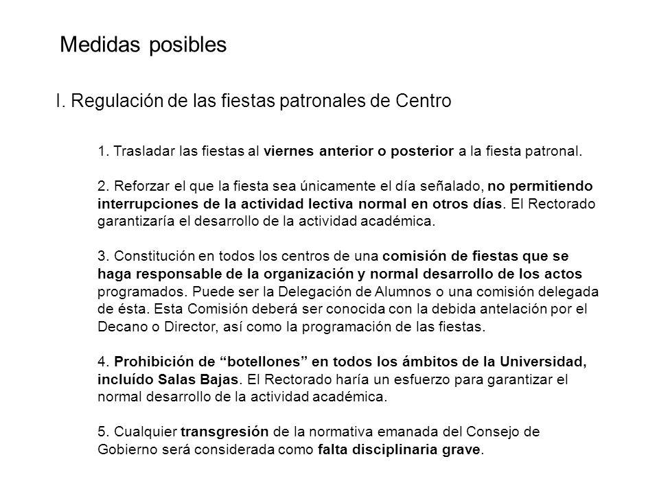 Medidas posibles I. Regulación de las fiestas patronales de Centro 1.