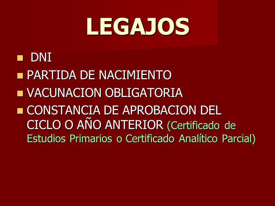 LEGAJOS DNI DNI PARTIDA DE NACIMIENTO PARTIDA DE NACIMIENTO VACUNACION OBLIGATORIA VACUNACION OBLIGATORIA CONSTANCIA DE APROBACION DEL CICLO O AÑO ANTERIOR (Certificado de Estudios Primarios o Certificado Analítico Parcial) CONSTANCIA DE APROBACION DEL CICLO O AÑO ANTERIOR (Certificado de Estudios Primarios o Certificado Analítico Parcial)