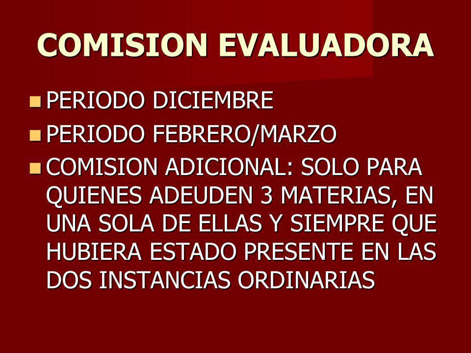 COMISION EVALUADORA PERIODO DICIEMBRE PERIODO DICIEMBRE PERIODO FEBRERO/MARZO PERIODO FEBRERO/MARZO COMISION ADICIONAL: SOLO PARA QUIENES ADEUDEN 3 MATERIAS, EN UNA SOLA DE ELLAS Y SIEMPRE QUE HUBIERA ESTADO PRESENTE EN LAS DOS INSTANCIAS ORDINARIAS COMISION ADICIONAL: SOLO PARA QUIENES ADEUDEN 3 MATERIAS, EN UNA SOLA DE ELLAS Y SIEMPRE QUE HUBIERA ESTADO PRESENTE EN LAS DOS INSTANCIAS ORDINARIAS