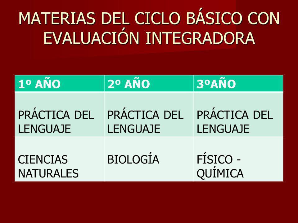 MATERIAS DEL CICLO BÁSICO CON EVALUACIÓN INTEGRADORA 1º AÑO2º AÑO3ºAÑO PRÁCTICA DEL LENGUAJE CIENCIAS NATURALES BIOLOGÍAFÍSICO - QUÍMICA
