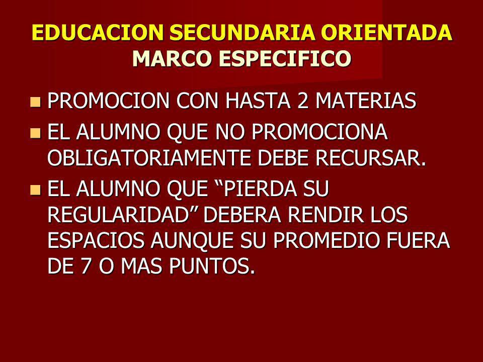 EDUCACION SECUNDARIA ORIENTADA MARCO ESPECIFICO PROMOCION CON HASTA 2 MATERIAS PROMOCION CON HASTA 2 MATERIAS EL ALUMNO QUE NO PROMOCIONA OBLIGATORIAMENTE DEBE RECURSAR.