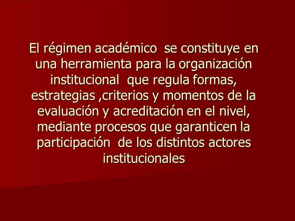 El régimen académico se constituye en una herramienta para la organización institucional que regula formas, estrategias,criterios y momentos de la evaluación y acreditación en el nivel, mediante procesos que garanticen la participación de los distintos actores institucionales