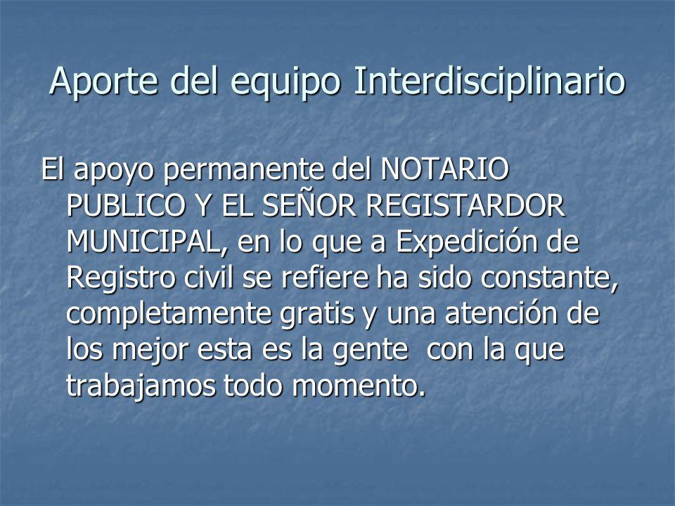 Aporte del equipo Interdisciplinario El apoyo permanente del NOTARIO PUBLICO Y EL SEÑOR REGISTARDOR MUNICIPAL, en lo que a Expedición de Registro civi