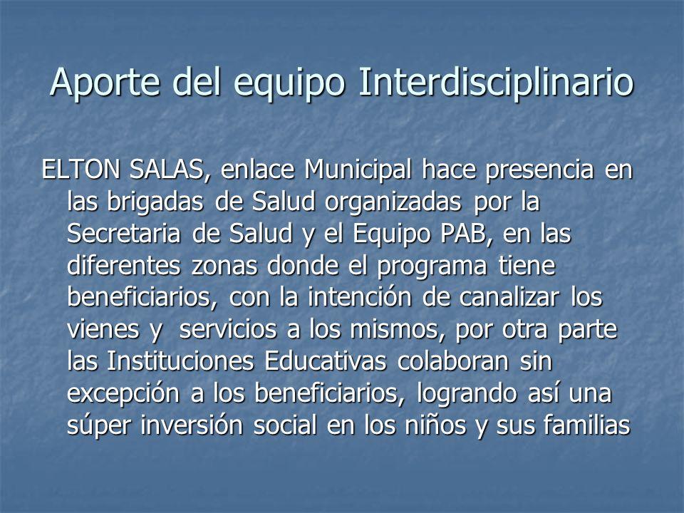 Aporte del equipo Interdisciplinario ELTON SALAS, enlace Municipal hace presencia en las brigadas de Salud organizadas por la Secretaria de Salud y el