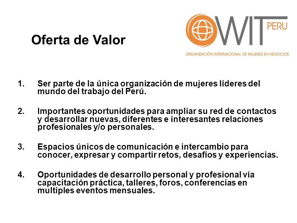 1.Ser parte de la única organización de mujeres líderes del mundo del trabajo del Perú. 2.Importantes oportunidades para ampliar su red de contactos y