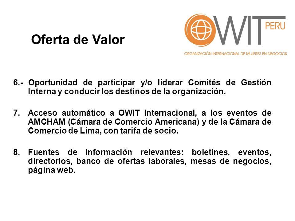 6.- Oportunidad de participar y/o liderar Comités de Gestión Interna y conducir los destinos de la organización. 7.Acceso automático a OWIT Internacio