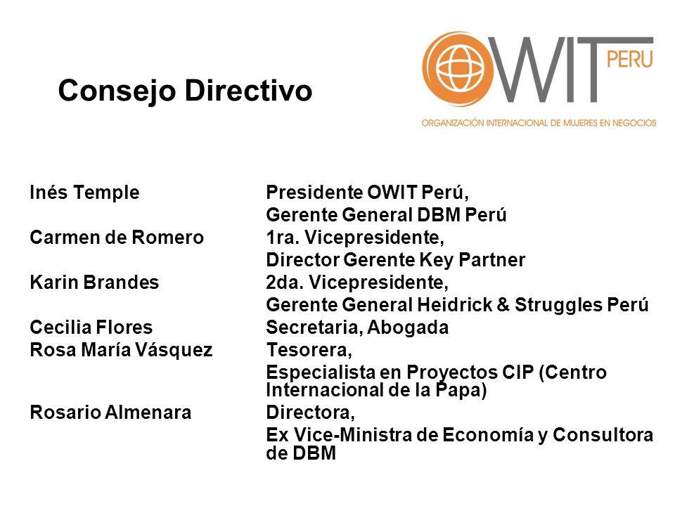 Inés Temple Presidente OWIT Perú, Gerente General DBM Perú Carmen de Romero 1ra. Vicepresidente, Director Gerente Key Partner Karin Brandes 2da. Vicep