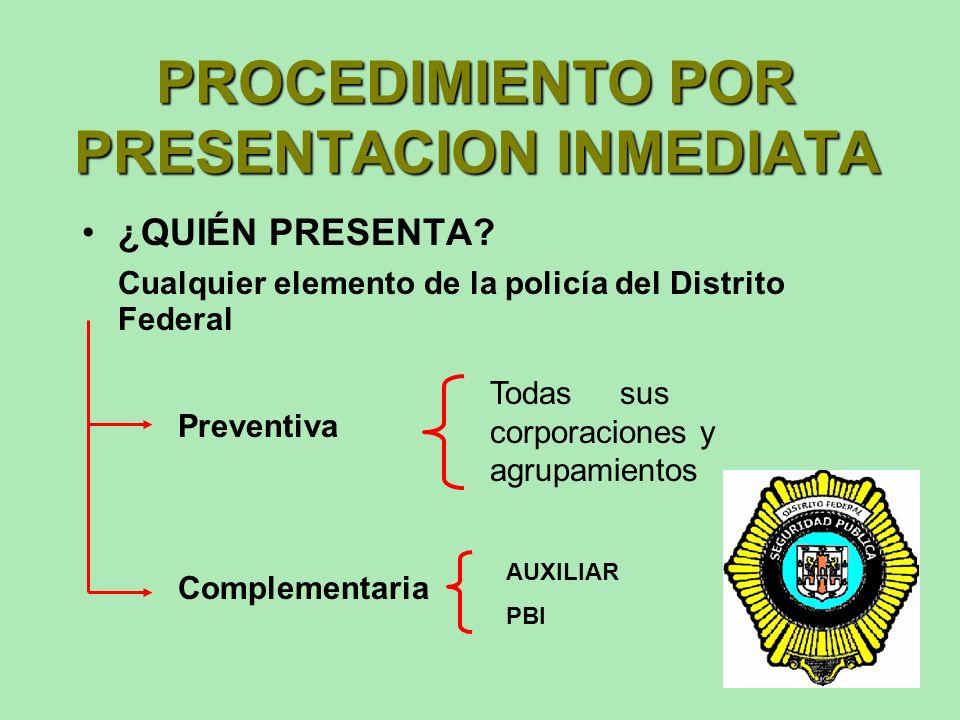 FORMAS DE PRESENTACION PRESENTACION INMEDIATA A PETICION DE PARTE CITATORIO ORDEN DE PRESENTACION