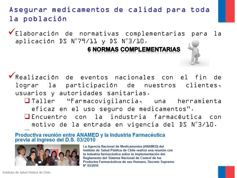 Asegurar medicamentos de calidad para toda la población Elaboración de normativas complementarias para la aplicación DS N°79/11 y DS N°3/10. Realizaci