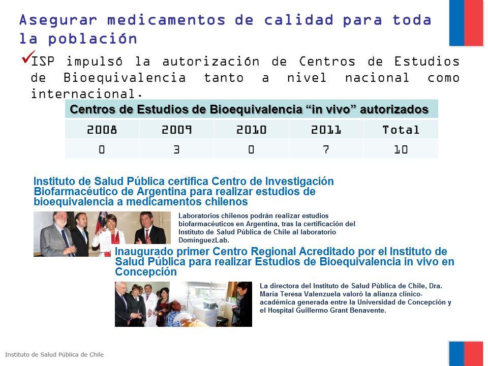 ISP impulsó la autorización de Centros de Estudios de Bioequivalencia tanto a nivel nacional como internacional. Asegurar medicamentos de calidad para