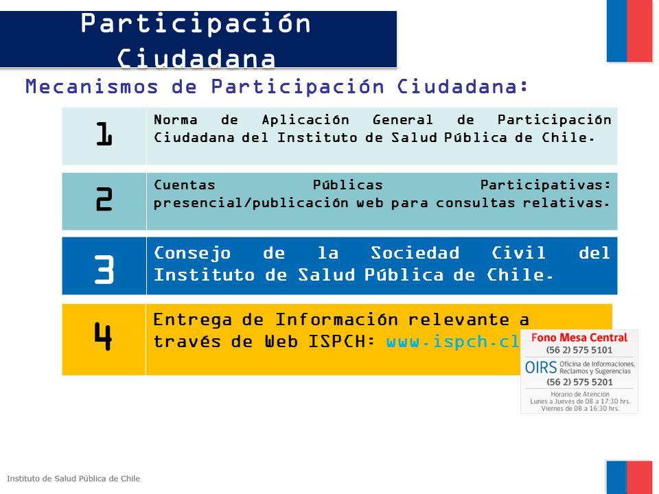 Participación Ciudadana Mecanismos de Participación Ciudadana: 1 Norma de Aplicación General de Participación Ciudadana del Instituto de Salud Pública