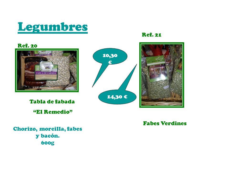 Legumbres Ref. 20 Ref. 21 Tabla de fabada El Remedio Fabes Verdines 10,30 14,30 Chorizo, morcilla, fabes y bacón. 600g