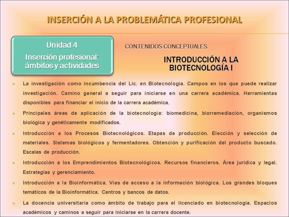 Unidad 4 Inserción profesional: ámbitos y actividades INSERCIÓN A LA PROBLEMÁTICA PROFESIONAL La investigación como incumbencia del Lic. en Biotecnolo