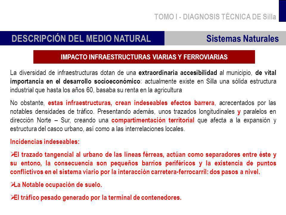 TOMO I - DIAGNOSIS TÉCNICA DE Silla Sistemas Naturales DESCRIPCIÓN DEL MEDIO NATURAL IMPACTO INFRAESTRUCTURAS VIARIAS Y FERROVIARIAS La diversidad de