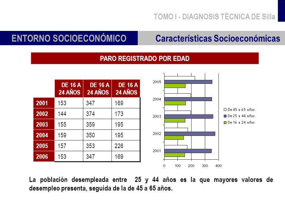 TOMO I - DIAGNOSIS TÉCNICA DE Silla PARO REGISTRADO POR EDAD ENTORNO SOCIOECONÓMICO Características Socioeconómicas La población desempleada entre 25