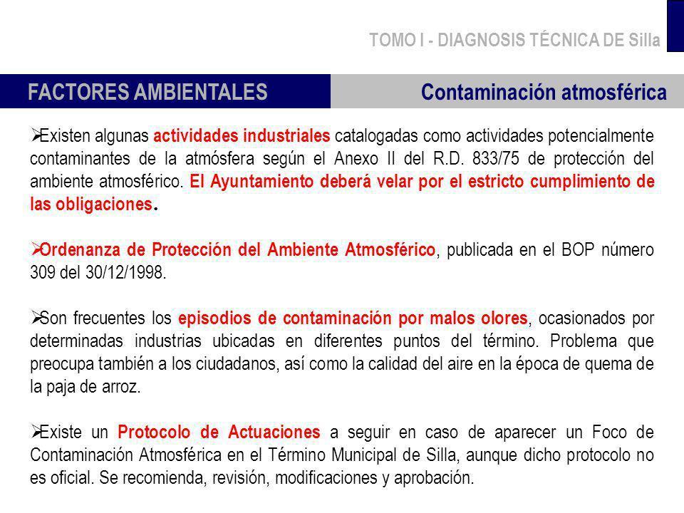 TOMO I - DIAGNOSIS TÉCNICA DE Silla FACTORES AMBIENTALES Contaminación atmosférica Existen algunas actividades industriales catalogadas como actividad