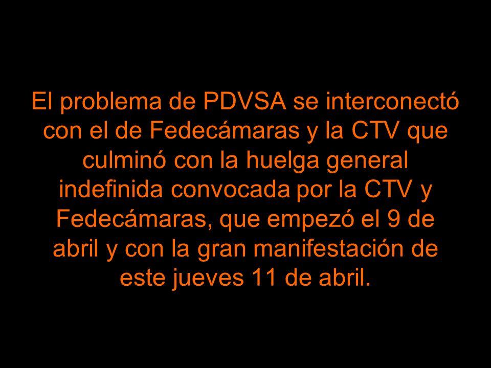 El problema de PDVSA se interconectó con el de Fedecámaras y la CTV que culminó con la huelga general indefinida convocada por la CTV y Fedecámaras, que empezó el 9 de abril y con la gran manifestación de este jueves 11 de abril.