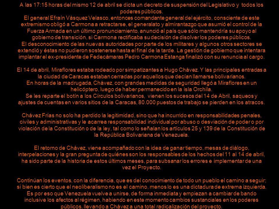 A las 17:15 horas del mismo 12 de abril se dicta un decreto de suspensión del Legislativo y todos los poderes públicos.