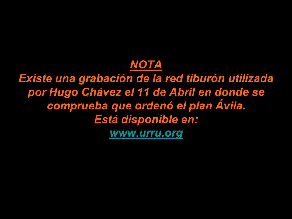 NOTA Existe una grabación de la red tiburón utilizada por Hugo Chávez el 11 de Abril en donde se comprueba que ordenó el plan Ávila.